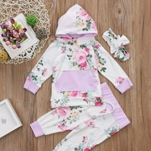 Other - Lilac flowered girl's track suit 0-3, 3-6 mo.